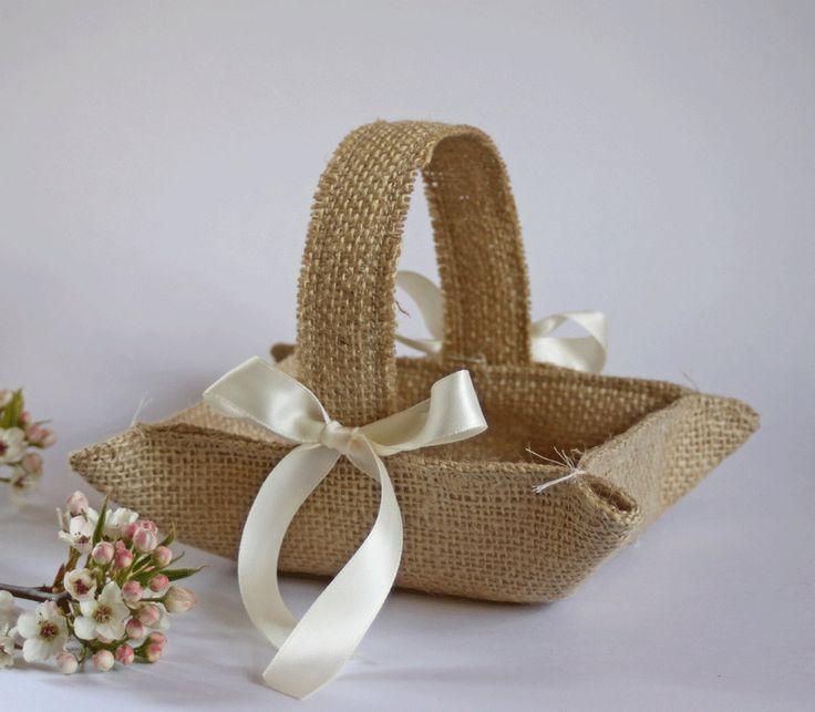 How To Make A Flower Girl Basket : Little burlap flower girl basket khaki natural jute for