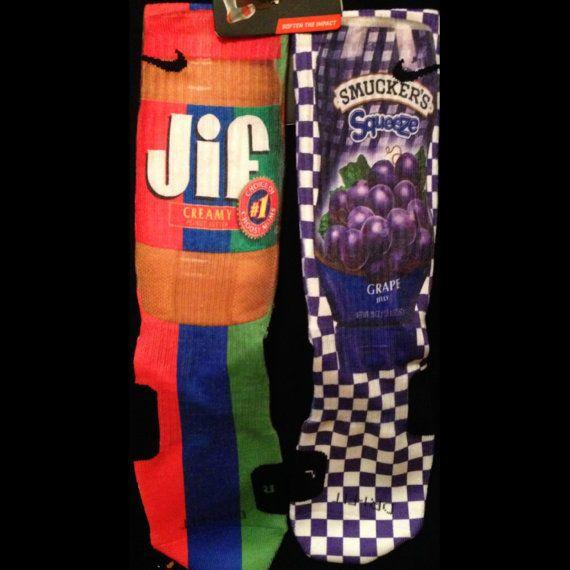Peanut Butter And Jelly Custom Nike Elite Socks