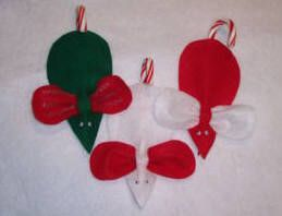 Candy cane mouse christmas ornament craft pattern