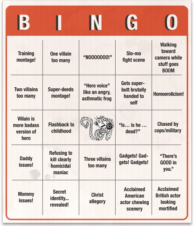 Superhero Movie Bingo Card 2 Activities For TV Time Pinterest