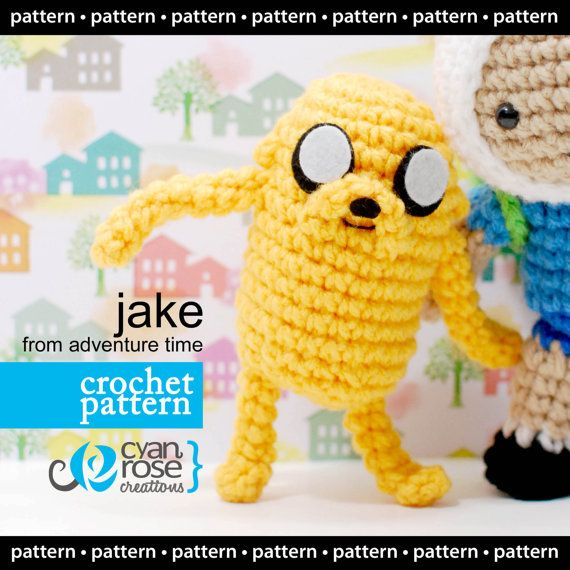 Finn And Jake Amigurumi Patterns Free : Instant Download - Jake, from Adventure Time - amigurumi ...