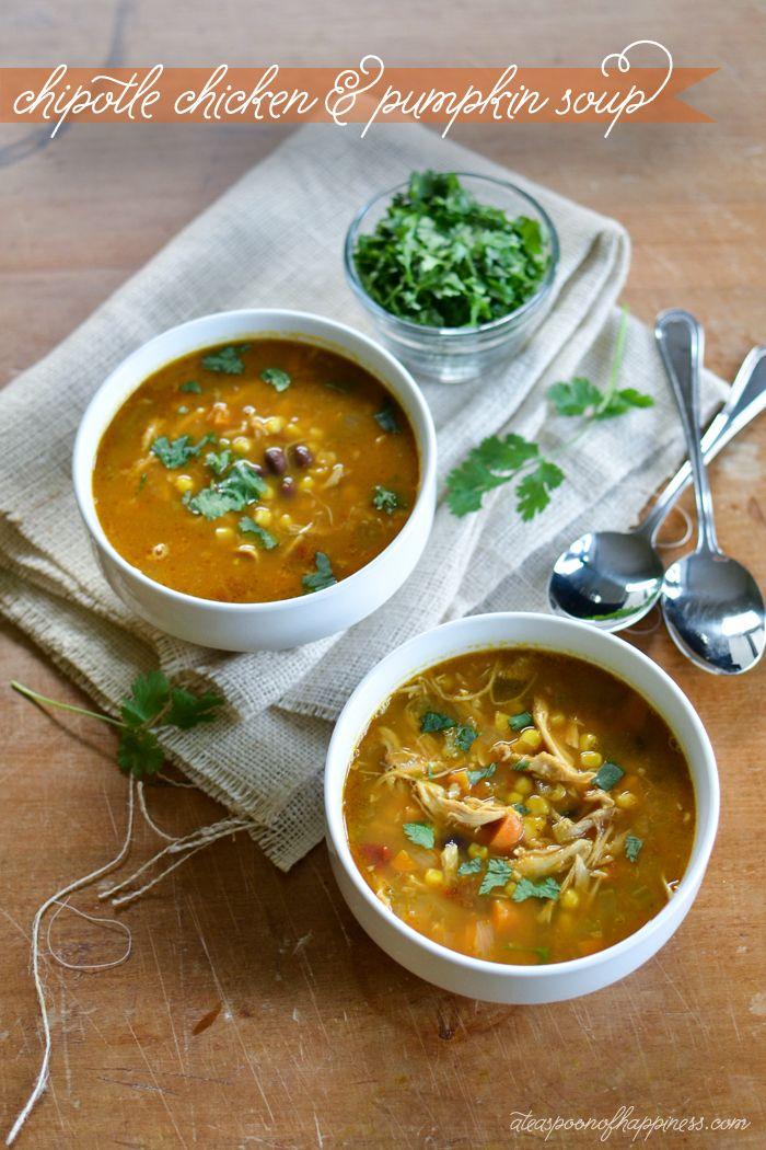 Chipotle Chicken & Pumpkin Soup - ateaspoonofhappiness.com