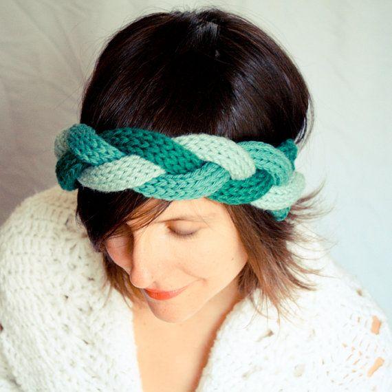 Alpaca Headband Knitting Pattern : Braided Knit Headband - Wreath of Green - Wool Alpaca Mix