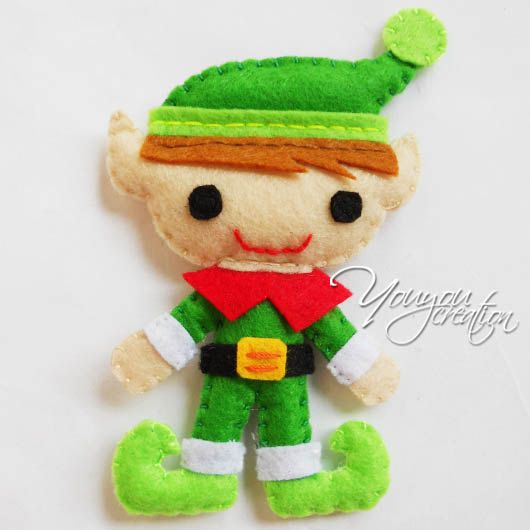 Felt christmas decoration elf Charm brooch by YouYouCreation