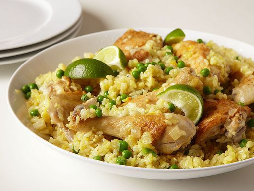 Mark Bittman's Chicken and Rice, I hold the peas.