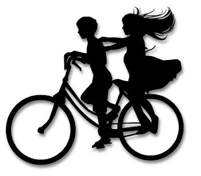 Boy and Girl on Bike Silhouette SVG