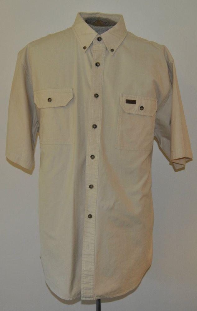Carhartt Mens Size Xlt Beige Button Down 100 Cotton Short