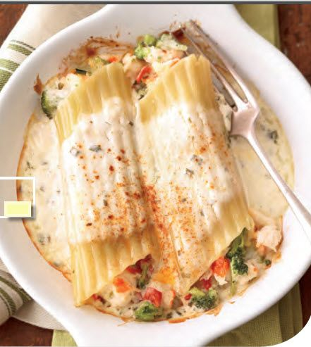 Lobster/Seafood Manicotti with Chive Cream Sauce