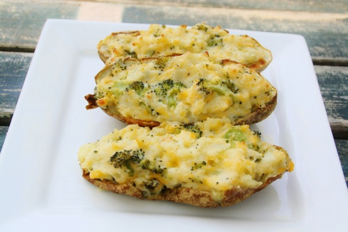 cheese and broccoli baked potatoes.