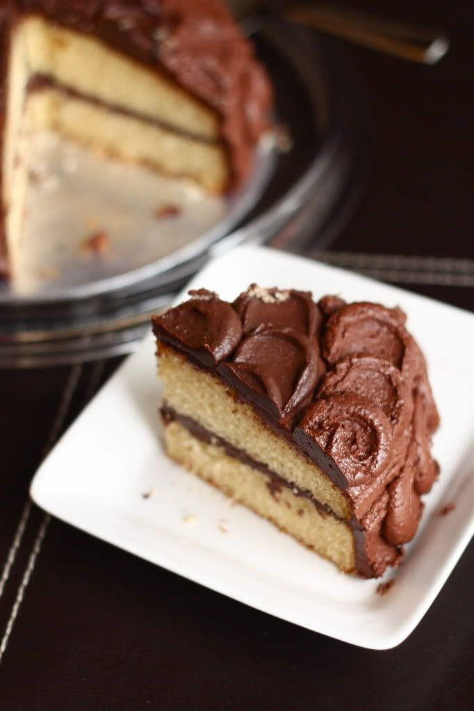 yellow butter cake with rich chocolate frosting- for Lincoln