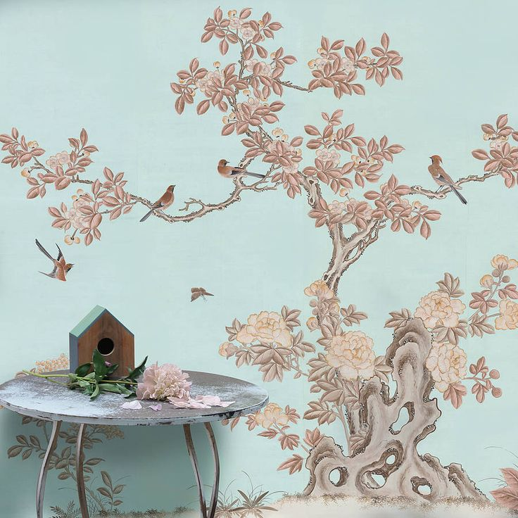 coffee and cream chinoiserie wallpaper by peacock and piano
