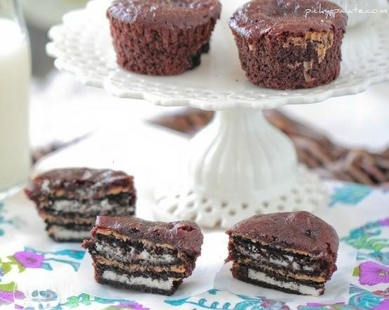 Oreo and peanut butter brownie cupcakes | Food Inspiration | Pinterest