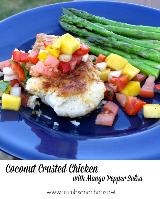 Coconut Crusted Chicken with Mango Pepper Salsa | Crumbs and Chaos