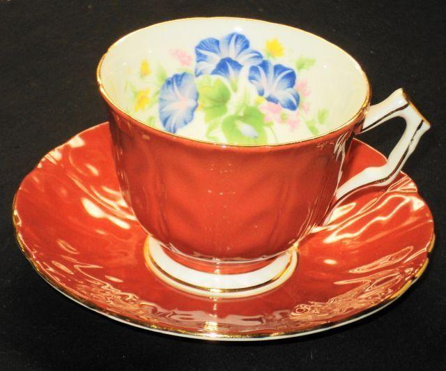 AYNSLEY DARK ORANGE Morning Glory TEXTURE TEA CUP AND SAUCER
