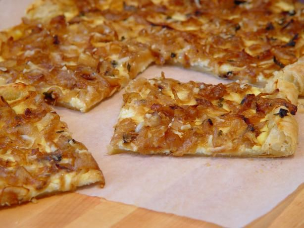Cheese, mushroom and carmelized onion tart,