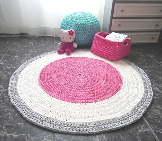 Large Pink Crochet Round Rug Pink Cotton Rag Rug Girls Room Pink Rug Ec