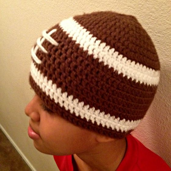 Crochet football hat Crochet projects Pinterest