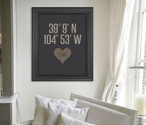Custom Latitude and Longitude Housewarming Gift // Personalized Bridal Shower Gift // Wedding Gift // Wedding Art Print