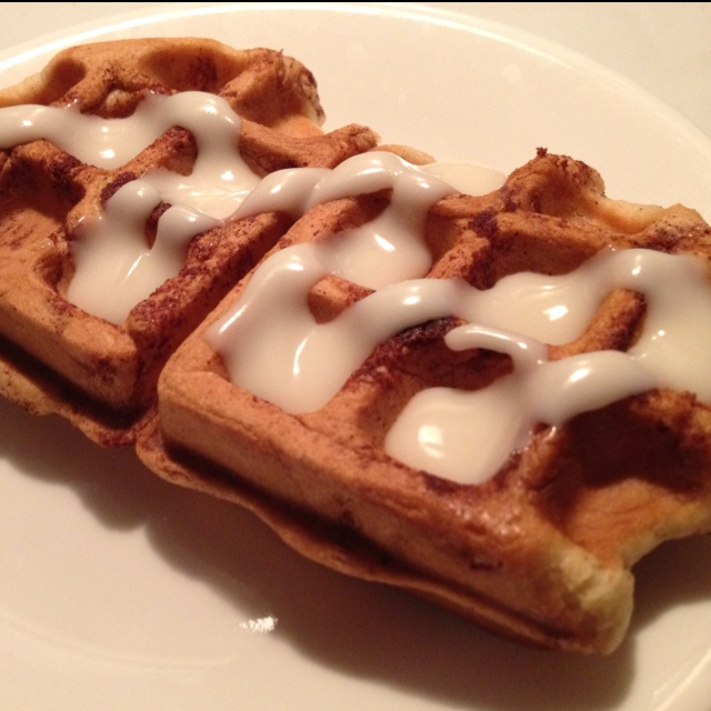 Cinnamon roll waffles with icing. | Favorite Recipes | Pinterest