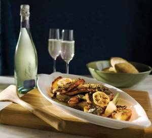 ... Fennel, Potatoes, Marjoram and Capers served with Emeri Pinot Grigio
