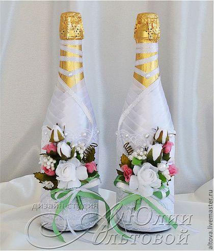 Декорирование бутылки атласными лентами мастер класс