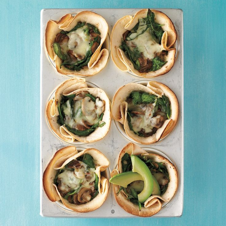 Mushroom-and-Spinach Cups Maybe add an egg on top and bake