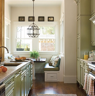 Eating nook off a galley kitchen inspiring spaces for Galley kitchen with breakfast nook