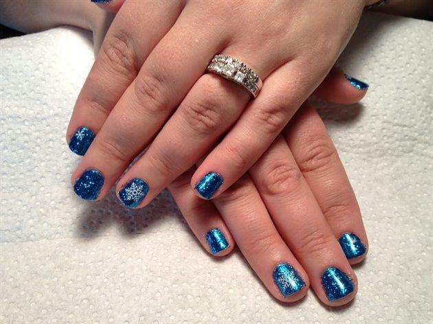 Shellac Glitter blue snowflake nails by Bekkers - Nail Art Gallery