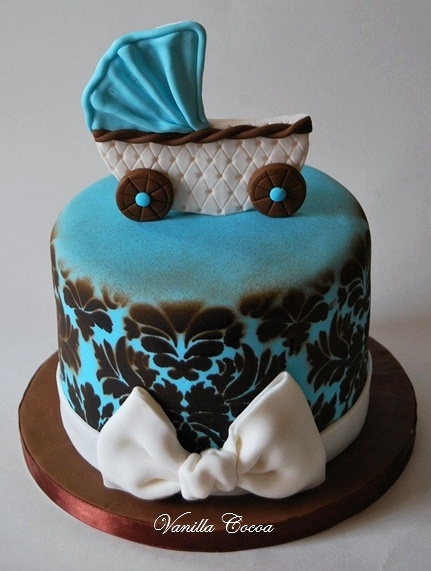 damask baby shower cake by Cocoa Claudia, via Flickr
