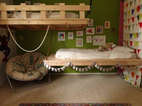 Decorating Your Bedroom Extraordinary With DIY Hanging Toddler Beds Photo