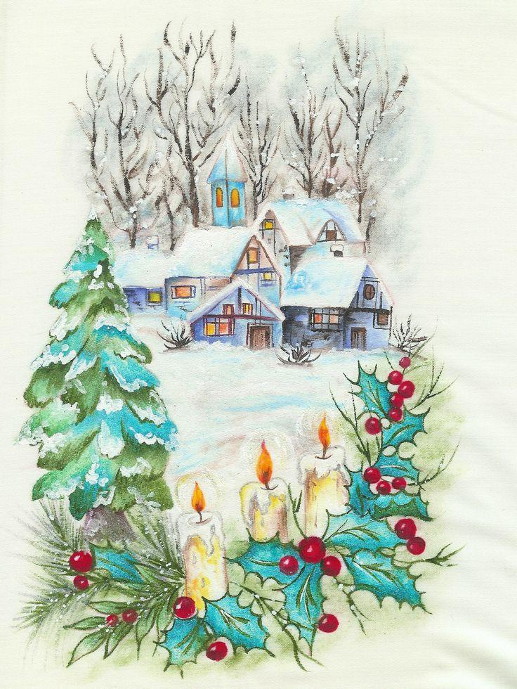 Pintura en tela navidad mis manualidades pinterest - Manualidades de navidad en tela ...