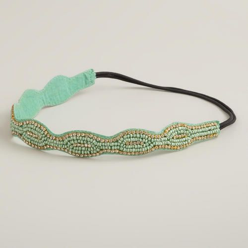 Teal and Mint Rhinestone Elastic Headband
