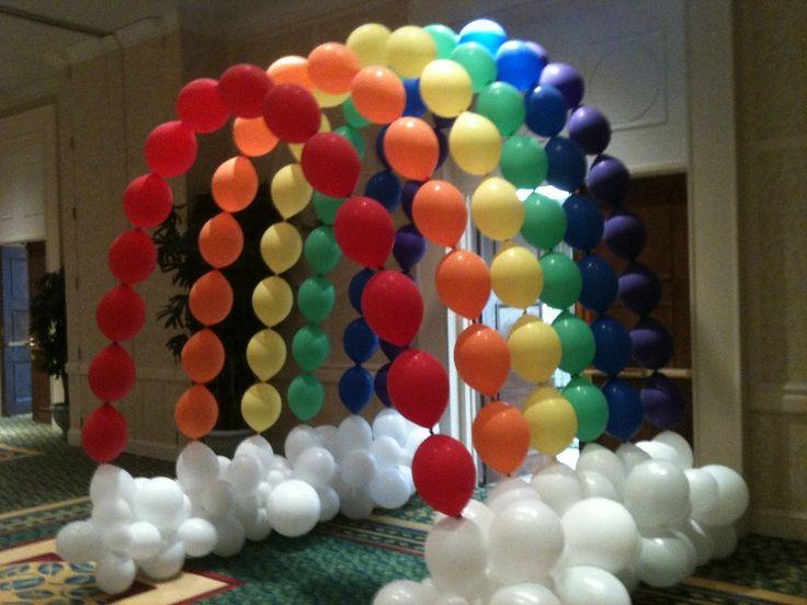 Rainbow balloon arch lofty pinterest for How to make a rainbow arch