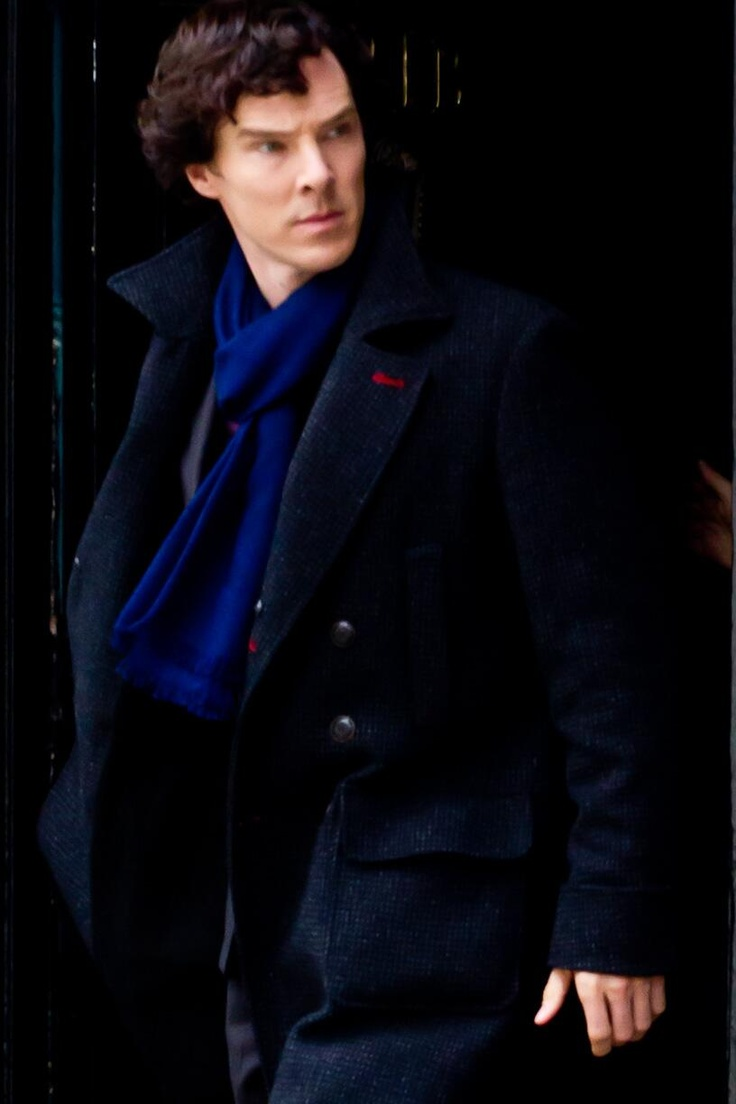 """Sherlock, May 21, 2013.  every series there will be a new scarf, my goodness. :)"" - Love the color, closest one yet to Tardis blue!"