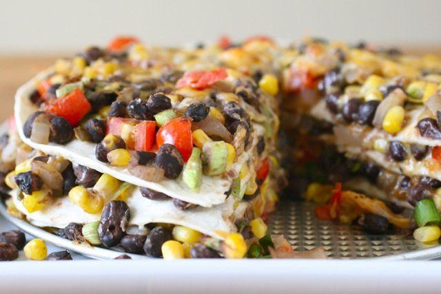 tortilla black bean pie | Things to cook | Pinterest