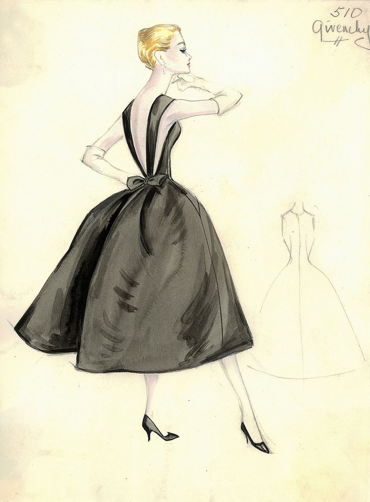 Cocktail dress sketch by Givenchy for Bergdorf Goodman, 1950s.