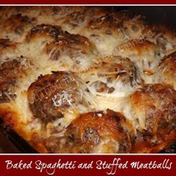 Baked Spaghetti and Stuffed Meatballs | Savory Delights | Pinterest