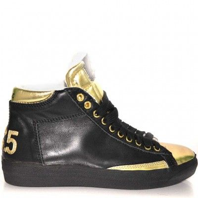 Trainers high top made from leather with golden laminated leather