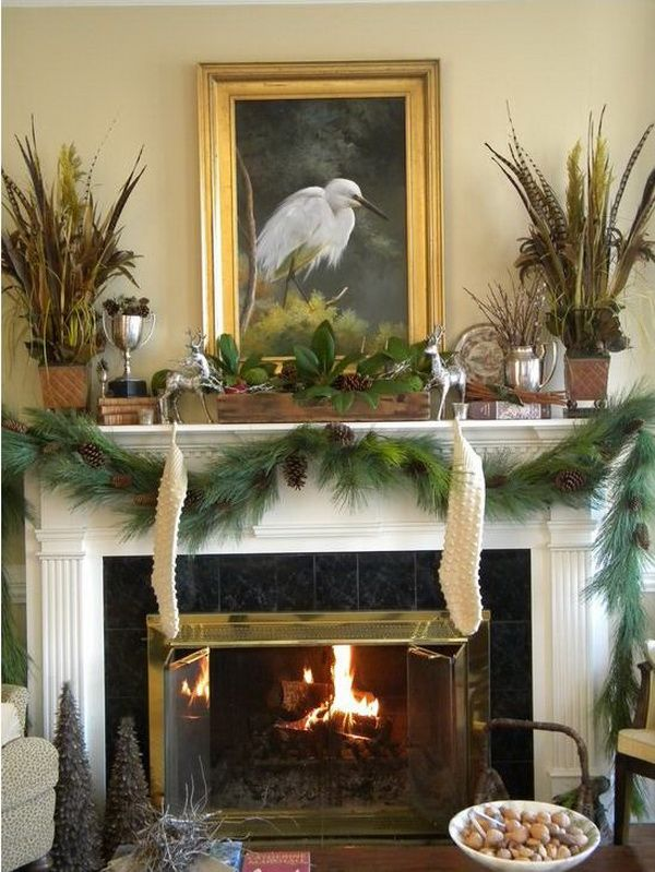 Love this elegant christmas mantel decor christmas decor for Images of fireplace mantels decorated for christmas