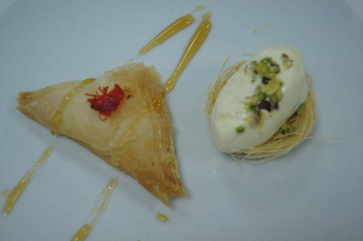 Warbat and mastic ice cream topped with pistachios #Arabic #dessert