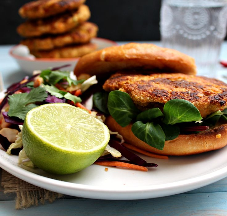 Quinoa Chickpea Burgers with Thai Peanut Lime Slaw - honey & figs