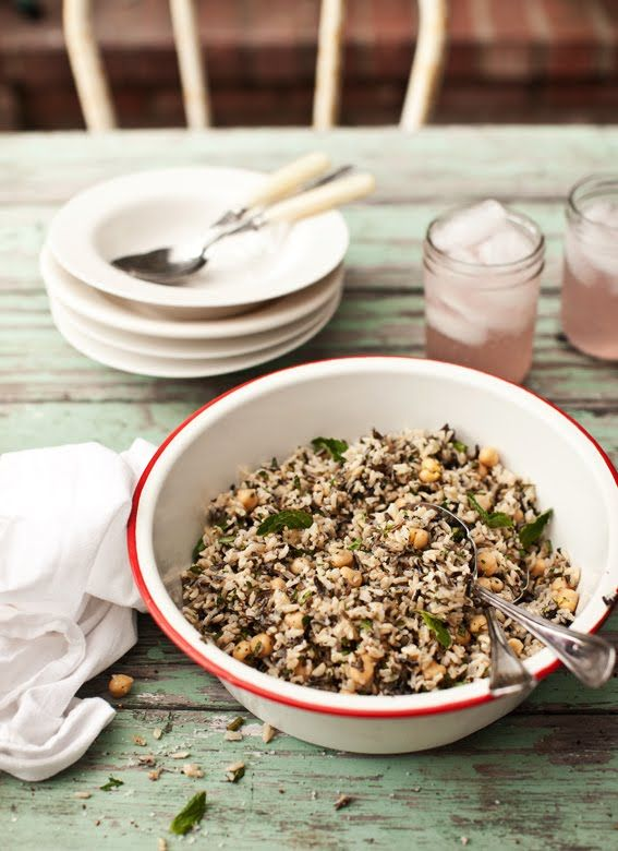 brown basmati and wild rice salad with mint and chickpeas
