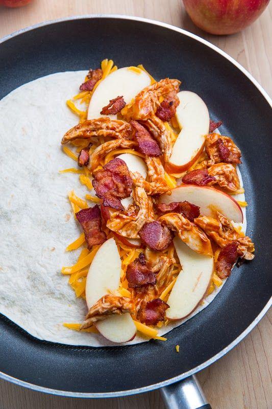 BBQ Chicken, Apple, Bacon and Cheddar Quesadillas | closetcooking.com