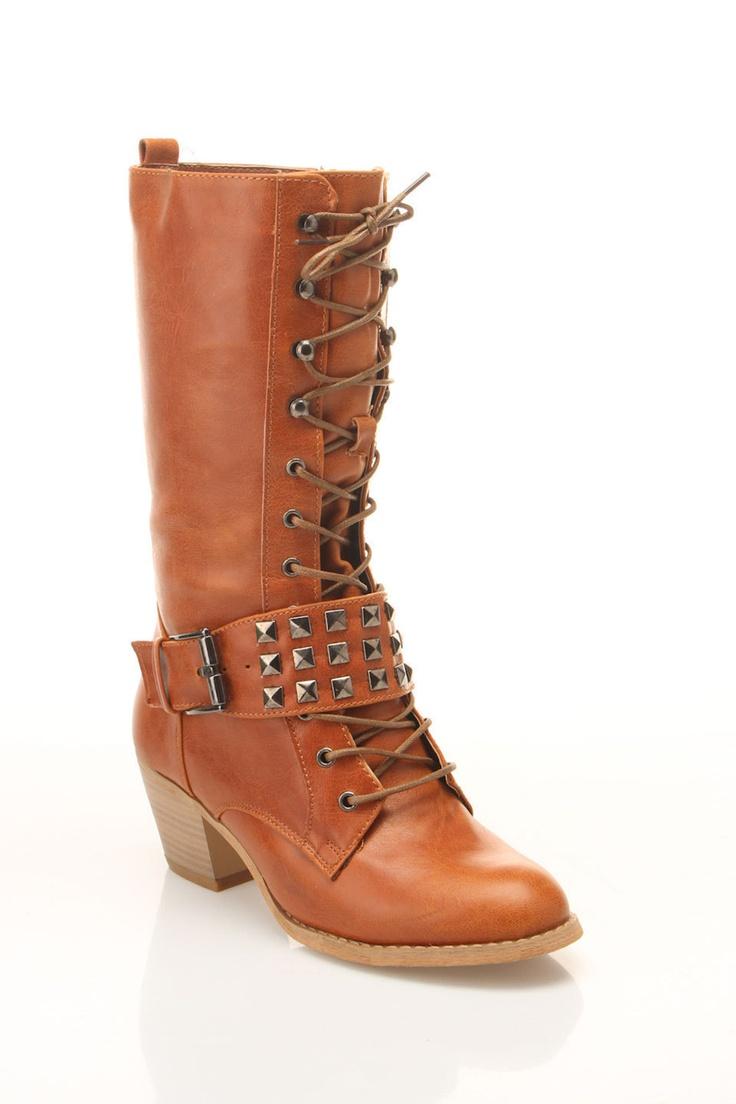 Studded Cognac Boots / Bucco