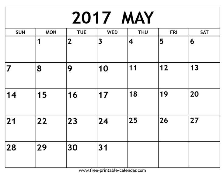 Календарь с большими ячейками 2017
