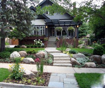 Landscape boulders design ideas northern gardening for Garden decking hinckley