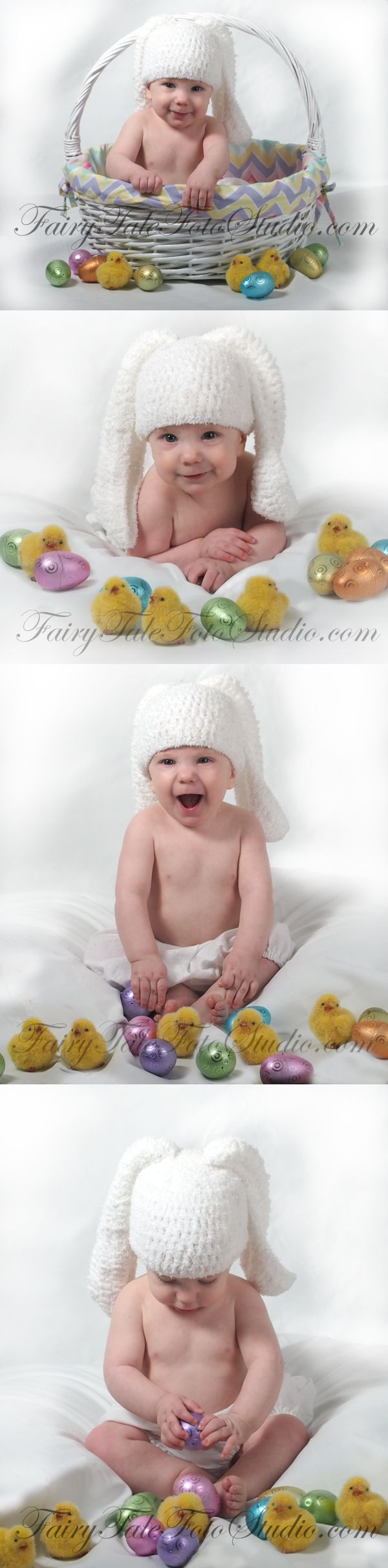 5 Month Old Boy Baby Bunny In An Easter Basket With Chicks And Eggs Portrait Poses