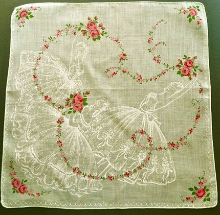 vintage handkerchief with ballerinas