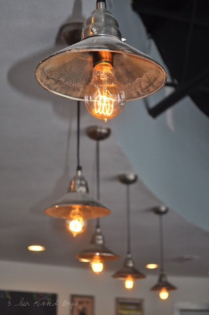 use old heat lamps from chicken coop for lights. Black Bedroom Furniture Sets. Home Design Ideas
