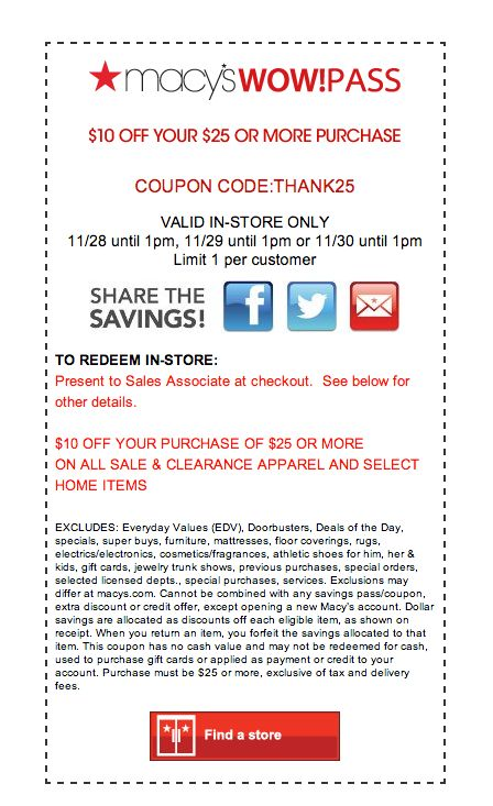 Macy's 25 off coupon code